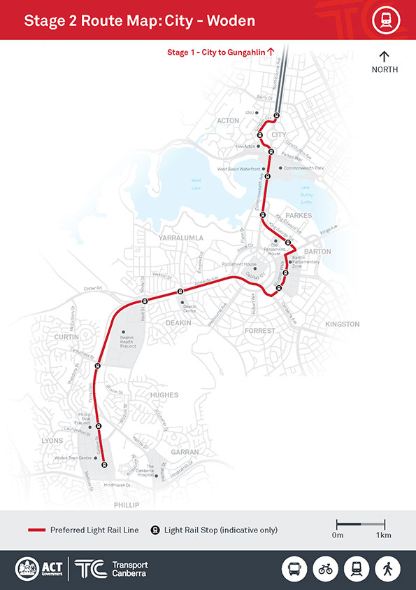 Light-Rail-Map-Civic-to-Woden-preferred-route
