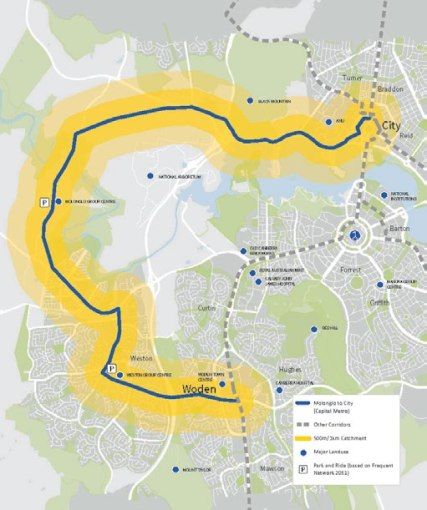 Civic - Molonglo - Weston Creek - Woden route shown in the ACT Governments Light Rail Master Plan from 2016