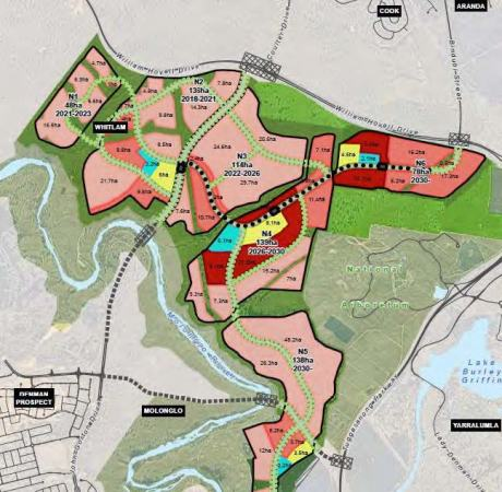 The draft concept plan shows three stops servicing the future suburbs of Molonglo Valley Stage 3
