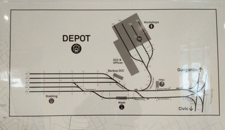 A map of the track inside the Mitchell LRV Depot showing the exit onto Flemington Rd