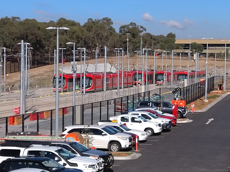 Canberra Metro Mitchell Depot light rail vehicle railyard.