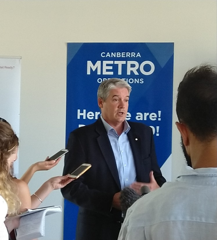 Canberra Metro CEO Glenn Stockton talking to media representatives covering the Depot opening