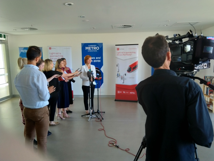 Transport Minister Meegan Fitzharris talking to media representatives covering the Depot opening