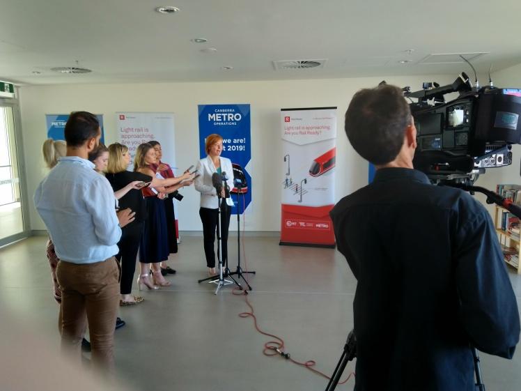 Transport Minister Meegan Fitzharris talking to media representatives covering the Depot opening